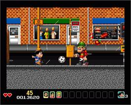 In game image of Soccer Kid on the Commodore Amiga.