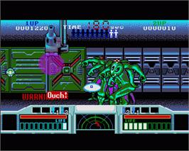 In game image of Space Gun on the Commodore Amiga.