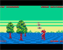 In game image of Space Harrier II on the Commodore Amiga.