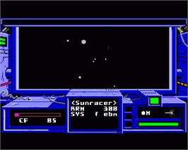 In game image of Space Rogue on the Commodore Amiga.
