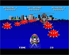 In game image of Speedboat Assassins on the Commodore Amiga.