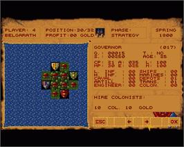 In game image of Spoils of War on the Commodore Amiga.