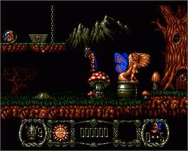 In game image of Stormlord on the Commodore Amiga.