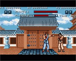 In game image of Street Fighter on the Commodore Amiga.
