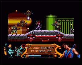 In game image of Strider on the Commodore Amiga.