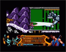 In game image of Strider 2 on the Commodore Amiga.