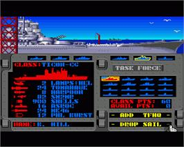 In game image of Strike Fleet on the Commodore Amiga.