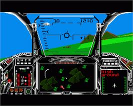 In game image of Strike Force Harrier on the Commodore Amiga.