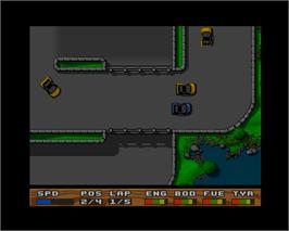 In game image of Super Cars 2 on the Commodore Amiga.