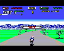In game image of Super Hang-On on the Commodore Amiga.