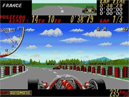 In game image of Super Monaco GP on the Commodore Amiga.