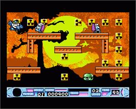 In game image of Super Seymour Saves the Planet on the Commodore Amiga.