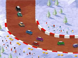 In game image of Super Skidmarks on the Commodore Amiga.