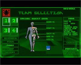 In game image of Syndicate on the Commodore Amiga.