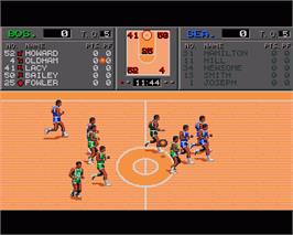In game image of TV Sports: Basketball on the Commodore Amiga.