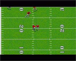 In game image of TV Sports Football on the Commodore Amiga.