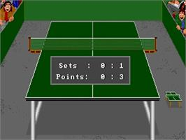 In game image of Table Tennis Simulation on the Commodore Amiga.