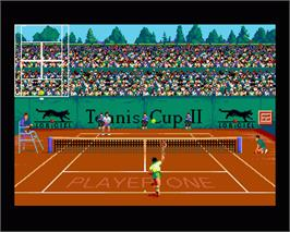 In game image of Tennis Cup 2 on the Commodore Amiga.