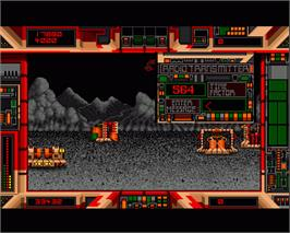 In game image of Terrorpods on the Commodore Amiga.