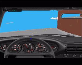 In game image of Test Drive on the Commodore Amiga.