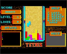 In game image of Tetris on the Commodore Amiga.