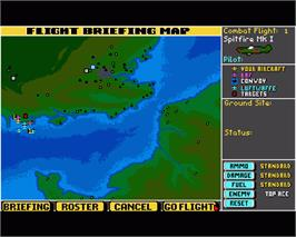 In game image of Their Finest Hour: The Battle of Britain on the Commodore Amiga.