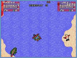 In game image of Toobin' on the Commodore Amiga.