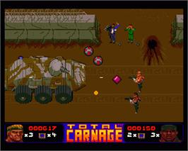 In game image of Total Carnage on the Commodore Amiga.