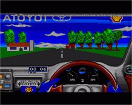 In game image of Toyota Celica GT Rally on the Commodore Amiga.