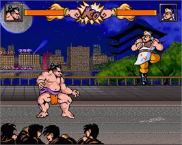 In game image of Tube Warriors on the Commodore Amiga.