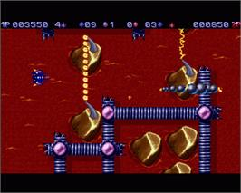 In game image of Tubular Worlds on the Commodore Amiga.