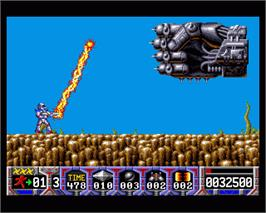 In game image of Turrican on the Commodore Amiga.