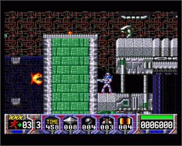 In game image of Turrican II: The Final Fight on the Commodore Amiga.