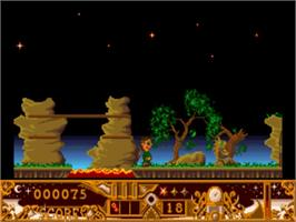 In game image of TwinWorld: Land of Vision on the Commodore Amiga.