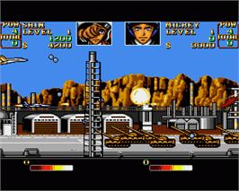 In game image of U.N. Squadron on the Commodore Amiga.