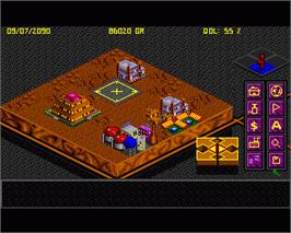 In game image of Utopia: The Creation of a Nation on the Commodore Amiga.