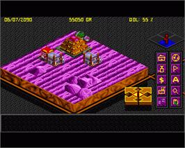 In game image of Utopia: The New Worlds on the Commodore Amiga.