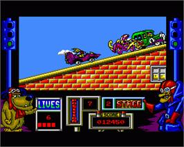 In game image of Wacky Races on the Commodore Amiga.