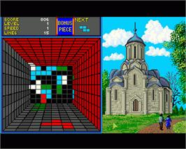 In game image of Welltris on the Commodore Amiga.