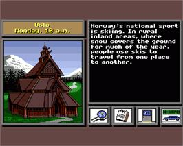 In game image of Where in Europe is Carmen Sandiego on the Commodore Amiga.