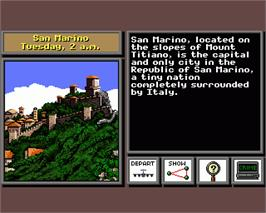 In game image of Where in the World is Carmen Sandiego on the Commodore Amiga.