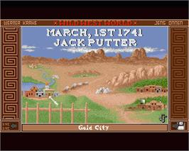 In game image of Wild West World on the Commodore Amiga.