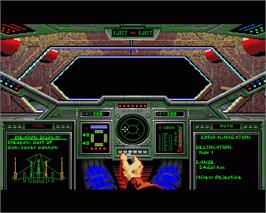 In game image of Wing Commander on the Commodore Amiga.