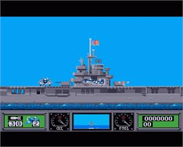 In game image of Wings of Fury on the Commodore Amiga.