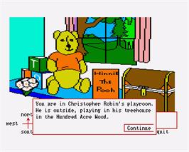 In game image of Winnie the Pooh in the Hundred Acre Wood on the Commodore Amiga.