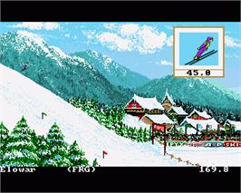 In game image of Winter Games on the Commodore Amiga.