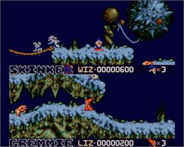 In game image of Wiz 'n' Liz: The Frantic Wabbit Wescue on the Commodore Amiga.
