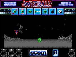 In game image of Wizball on the Commodore Amiga.