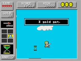 In game image of Wonder Boy in Monster Land on the Commodore Amiga.