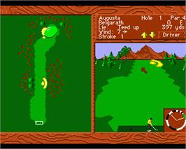 In game image of World Tour Golf on the Commodore Amiga.